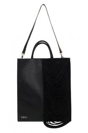 Simple - Torebka czarna shopper