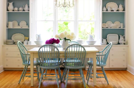 Blue Windsor chairs.