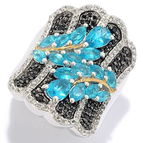 NYC II® 2.81ctw Neon Apatite, Black Spinel & White Zircon Wide Band Ring