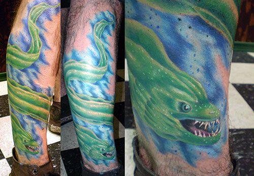 eel tattoo -by Graham Fisher of Hot Rod Tattoo in Blacksburg, VA