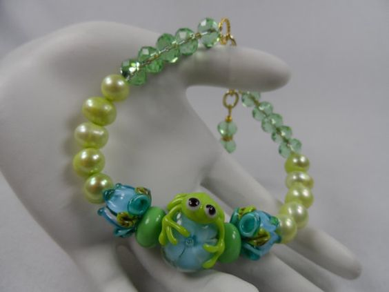 Blue and Green Floral Garden and Frog Lampwork by LarenDeeDesigns, $46.00