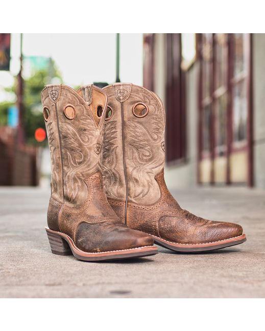 Ariat Men&39s Heritage Roughstock Square Toe Boot - Earth/Brown
