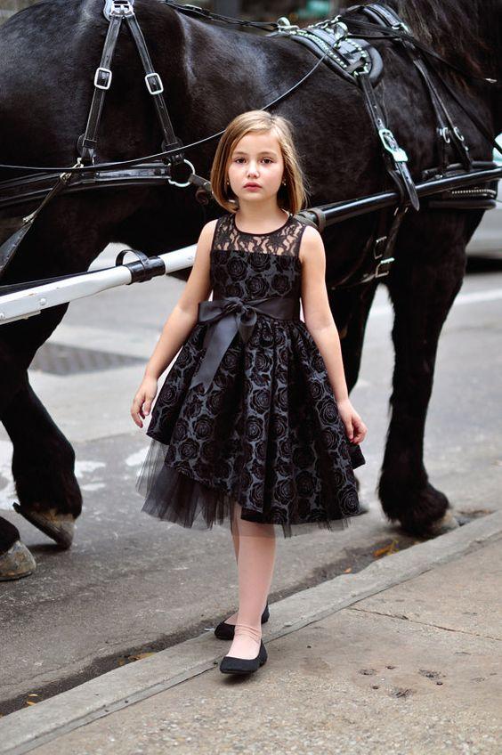 The Rosella...Girls Black Embossed Taffeta Dress RTS 7-8 ...