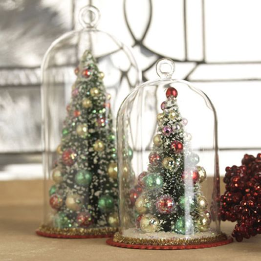 Christmas Tree in Glass Dome Ornament from Raz Imports