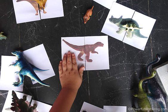 dinosaur card matching busy bag