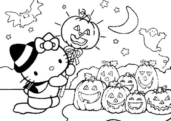 Cute Halloween Coloring Pages For Kids Hello Kitty