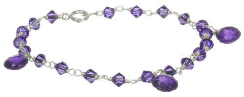 """Sterling Silver Crystallized Swarovski Elements-Accented with Faceted Pear-Shape Amethyst Drops Bracelet, 7.5"""" Amazon Curated Collection. $52.00. The natural properties and composition of mined gemstones define the unique beauty of each piece. The image may show slight differences to the actual stone in color and texture. Wipe clean with a soft, dry cloth.  Do not use any cleaning agents."""