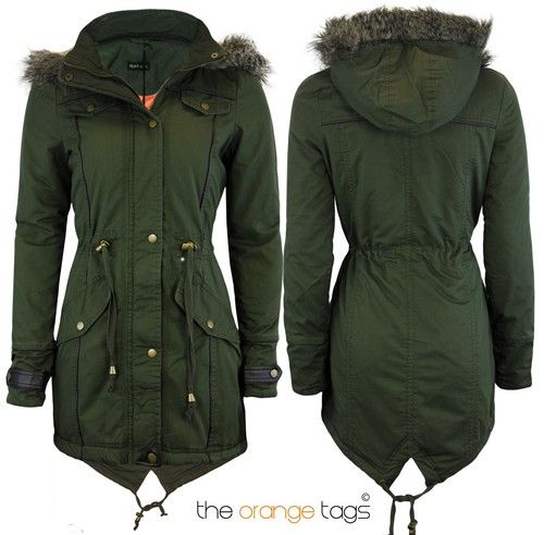 Details about WOMENS PLUS SIZE HOODED FISHTAIL LADIES PARKA JACKET ...