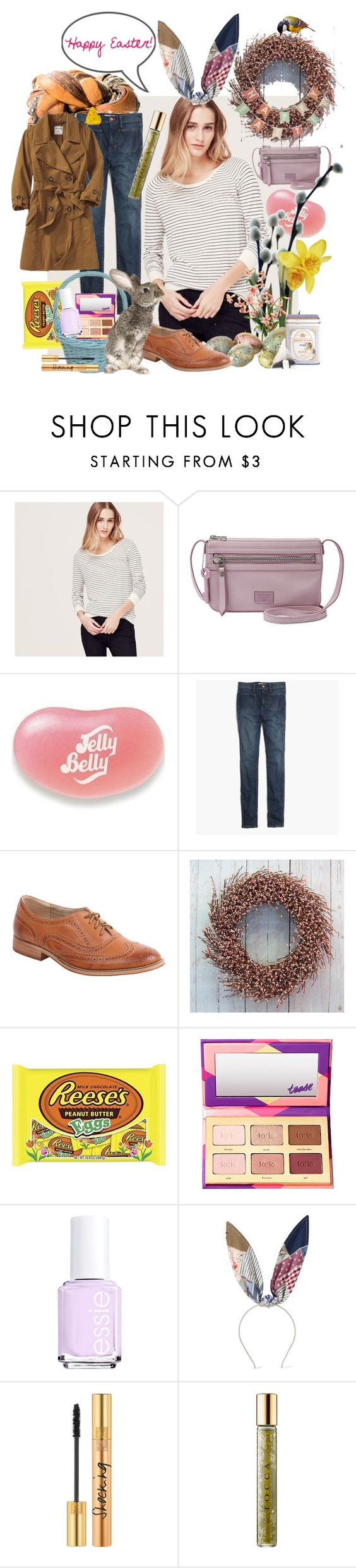 """""""Happy Easter!"""" by rachael-aislynn ❤ liked on Polyvore featuring LOFT, FOSSIL, Jelly Belly, Madewell, Wanted, tarte, Essie, Maison Michel, Yves Saint Laurent and Tocca"""