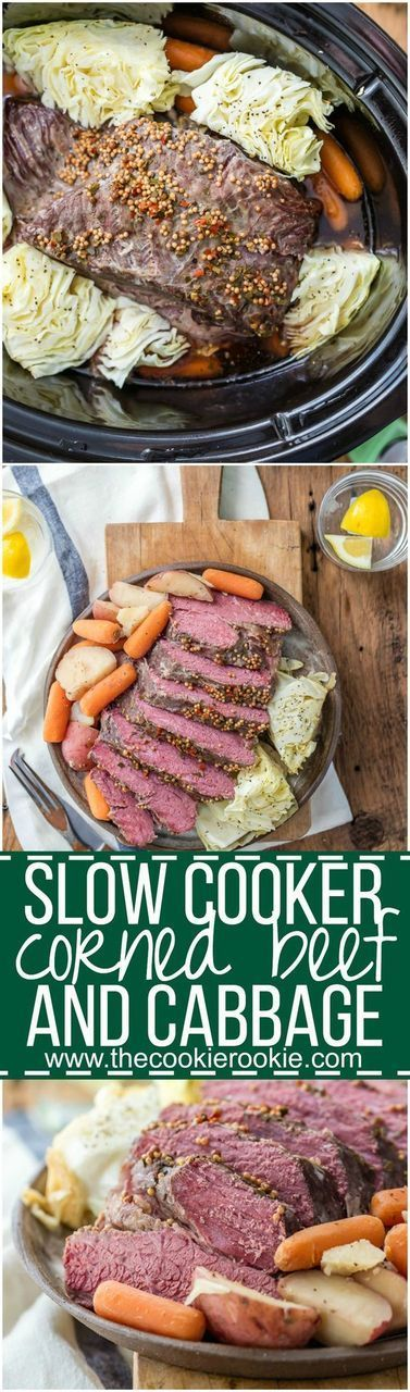 There's a little Irish in us all on St. Patrick's Day. With this slow cooker recipe, you can tap into those true-blue (or green?) Irish roots with mouth-watering Corned Beef and Cabbage - made slow but easy. | The Cookie Rookie: