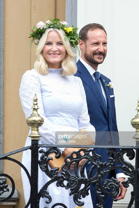 Crown Princess Mette-Marit of Norway, and Crown Prince Haakon of Norway, attend a Garden Party at the Royal Residence, Stiftsgarden,  on a visit to Trondheim, during the King and Queen of Norway's Silver Jubilee Tour, on June 23, 2016 in Trondheim, Norway.(Photo by Julian Parker/UK Press via Getty Images)