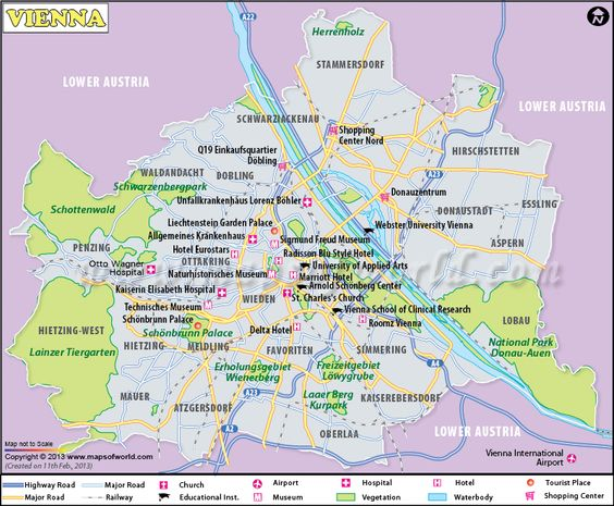 Vienna Map the capital of Austria showing major landmarks – Tourist Map Of Vienna Austria