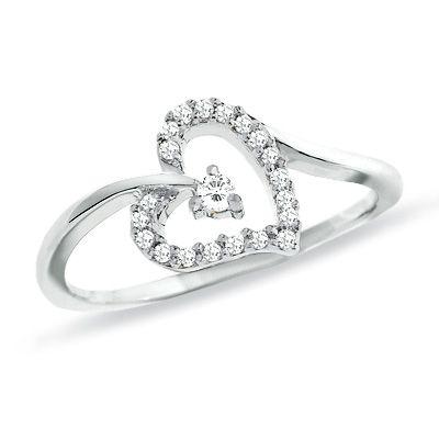 1/6 CT. T.W. Diamond Heart Ring in 10K White Gold - Zales