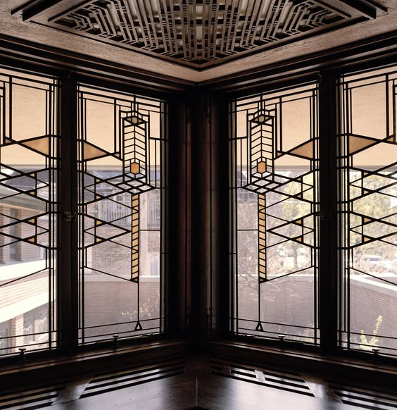 Stained glass doors and windows; 1890s-1910s; Frederick C. Robie House; Frank Lloyd Wright. Prairie style.