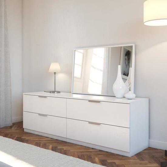 Vankka Commode De Chambre Scandinave Decor Chene Et Blanc Mat