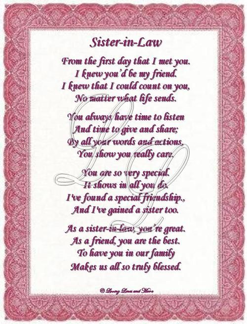 Wedding Gift For Elder Sister : sister in law poems best sister in law quotes sister in law gift ideas ...