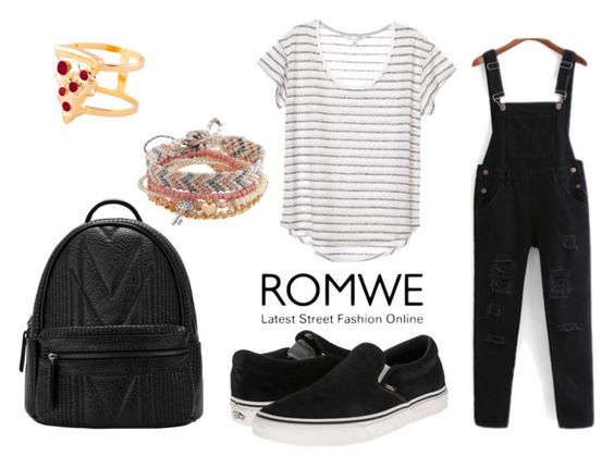 """WIN A ROMWE BLACK JUMPSUIT"" by anisimova-i ❤ liked on Polyvore featuring Vans, Aéropostale and Glenda López"