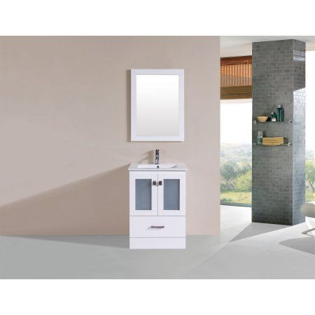 24 inch Hermosa White Single Modern Bathroom Vanity with Integrated Sink and Mirror