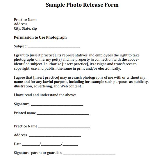 We have crafted unique and elegant Release Form Templates for - print release form