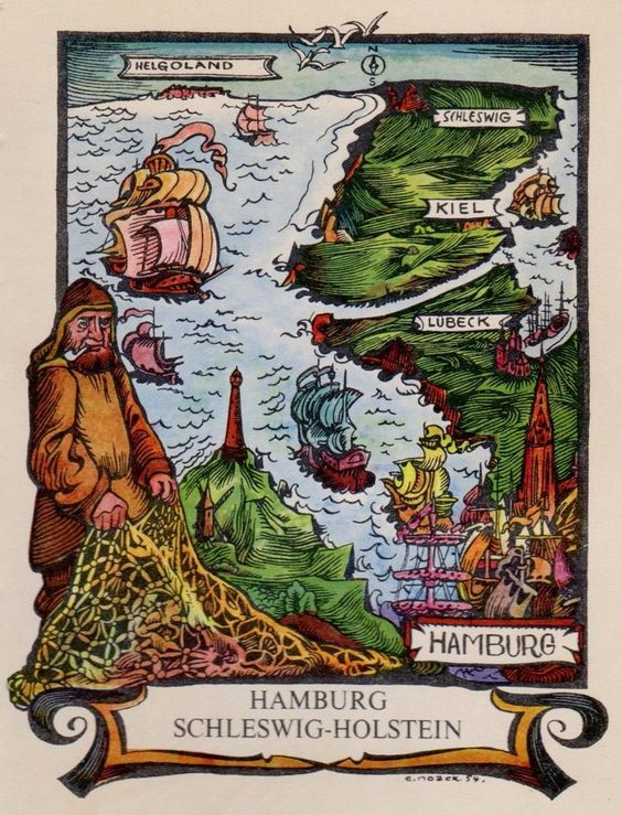 Details about Charming GERMANY Print HAMBURG Schleswig Holstein – Show Me the Map of Germany