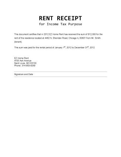 Rent Receipt for Income Tax Purposes - Microsoft Word Template - house rental receipt template