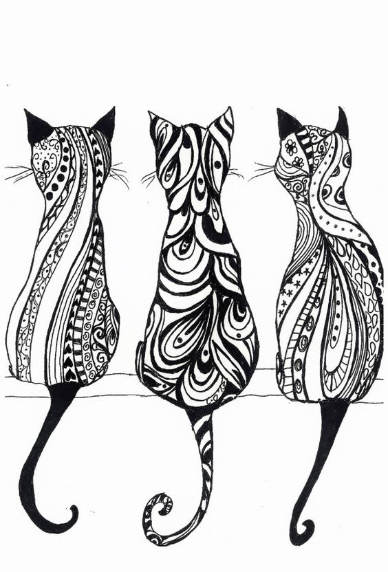items similar to drei katzen a4 monochrom drucken der originalzeichnung on etsy drawing 39 nd. Black Bedroom Furniture Sets. Home Design Ideas