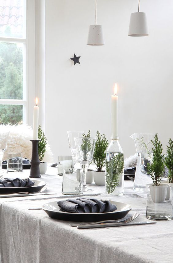 simple white table cloth with greenery