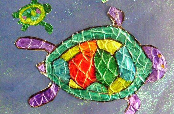 Tin foil painting sea turtles and fish classroom art for Tin foil fish