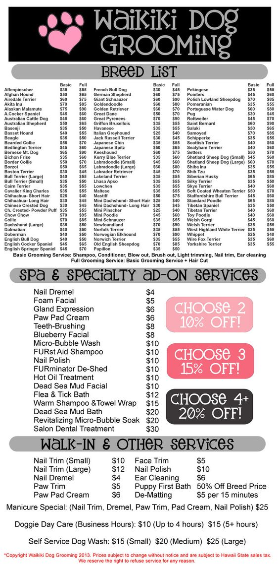 dog grooming prices - Google Search