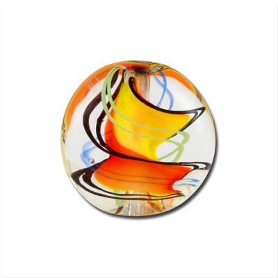 14mm Yellow & Orange Lampwork Beads Disc