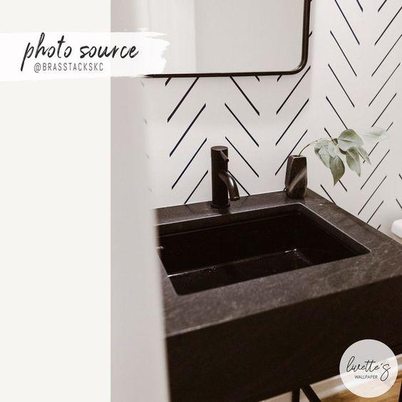 Modern Delicate Herringbone Wallpaper In Black And White Etsy Herringbone Wallpaper Bathroom Wallpaper Black And White Scandinavian Design