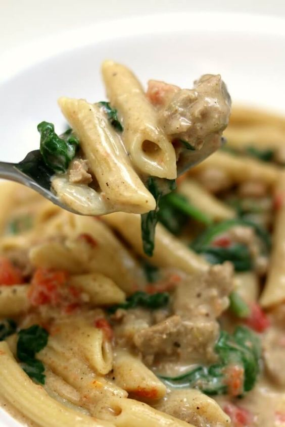 Instant Pot Creamy Turkey Spinach Penne