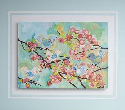 Baby girl - vintage bird/ bird cage nursery theme paint frame