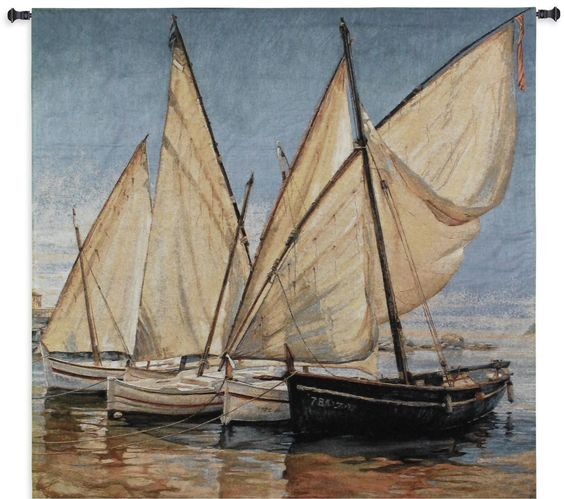 Nautical Tapestry White Sails - Woven Fabrics Create Beautiful Coastal Tapestries -   Take your room from ordinary to exceptional with this beautiful and extraordinary sail boat scene on the calm waters....