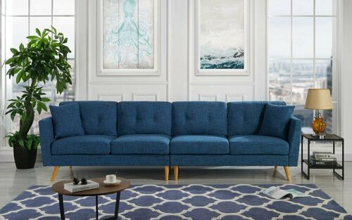 Modern Family Room Couch Upholstered Large Fabric Sofa 114 9 034 Wide Dark Blue Sofa Decor Family Room Couch Living Room Furniture Sofas