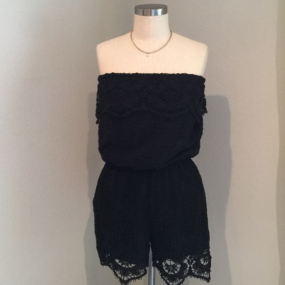 NWT Strapless Crochet Romper Got this as a gift but it was too big! New with tags. Cute strapless crochet romper. Perfect for spring and summer. Very pretty crochet detail at the hem. Size L. Very comfy. Rewind Pants Jumpsuits & Rompers