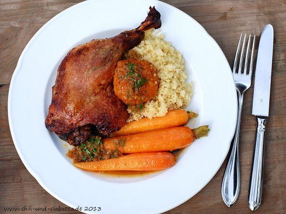 Enten-Tagine mit Clementinen und Couscous