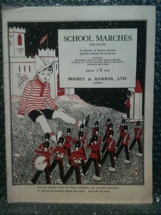 Vintage - School Marches For Piano Song Book - Boosey & Hawkes - 1930s