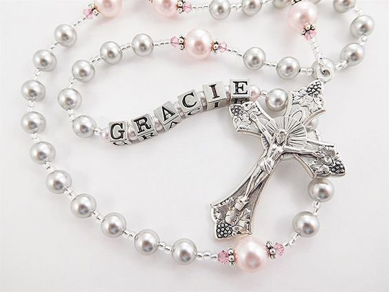 Gray and Pink Personalized Rosary - Baptism, First Communion, Confirmation Swarovski Crystals by RosaryGardenCathy on Etsy https://www.etsy.com/listing/123813279/gray-and-pink-personalized-rosary