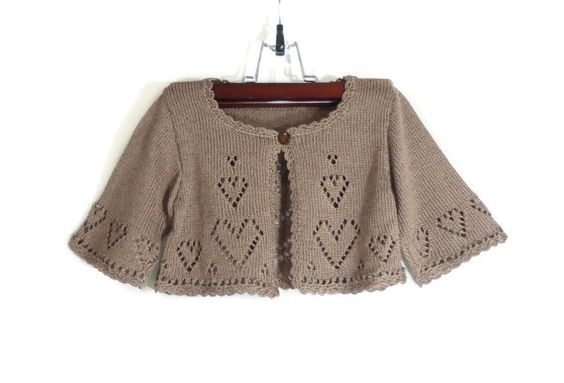 Knitted Baby Bolero Jacket, Light Brown by SasasHandcrafts,