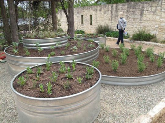 Use galvanized stock tanks to create raised beds and container gardens.  No digging through solid rock!