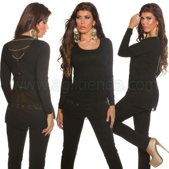 #Original #jersey #holgado @mujer #diseño con #transparencias en el #borde y #espalda junto con #lazos y #cadenas para un #efecto #sexy y #chic en tu #look #diario que podremos #lucir #comodamente gracias a su #tejido #elastico y #suave para #complementar con todo nuestro @armario. Encuentralo en #jerseys y #camisetas de http://www.agiltienda.com/es/home/2277-sueter-mujer-espalda-con-cadenas-8400227766529.html #online #shop @agiltienda.es