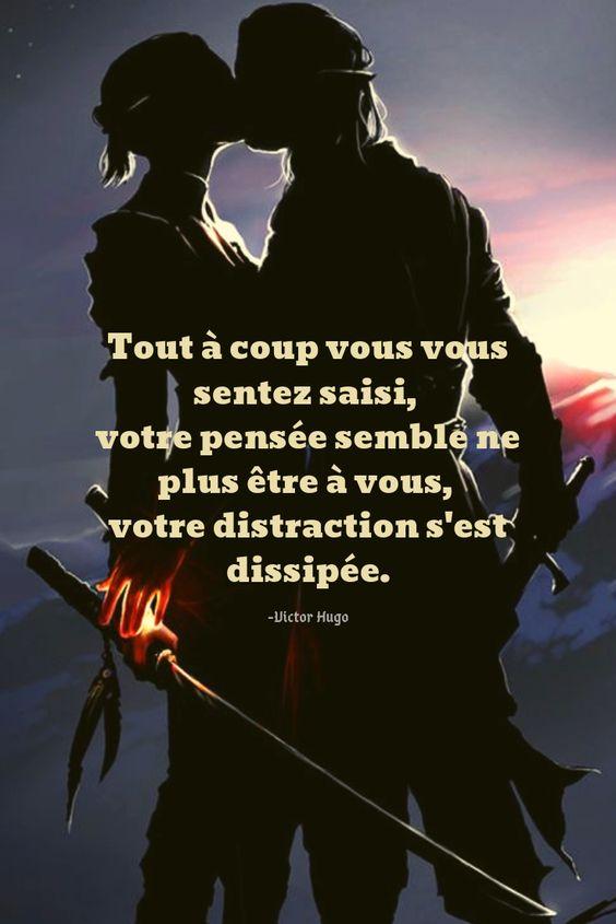 Tout à coup vous vous sentez saisi, votre pensée semble ne plus être à vous, votre distraction s'est dissipée. -Victor Hugo #Citation