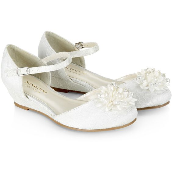 Monsoon Pearl Pom Pom Wedge Shoes (59 CAD) ❤ liked on Polyvore featuring shoes, ankle wrap shoes, ankle tie wedge shoes, wedge heel shoes, flower shoes and embellished shoes