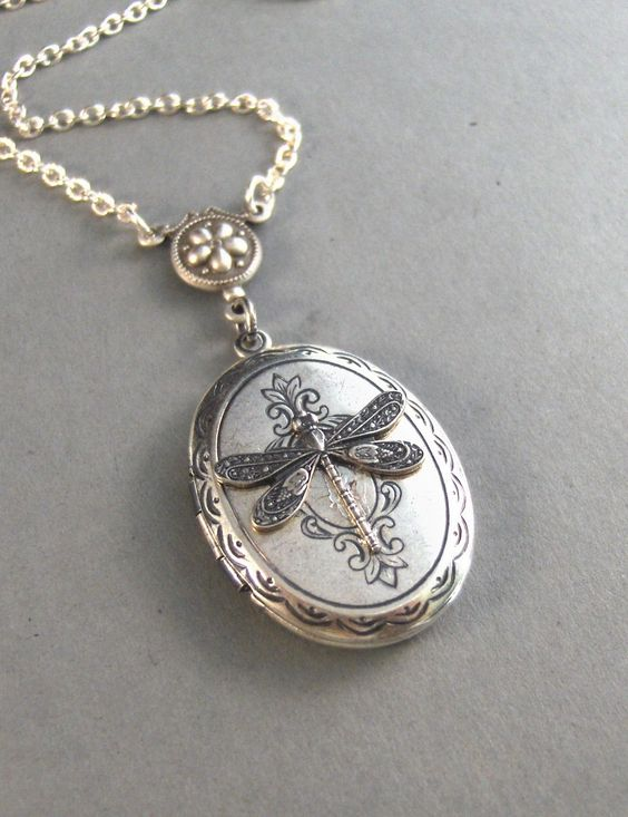 Meadow,Silver Dragonfly Locket,Victorian Style,Silver Chain. Handmade Jewelry by valleygirldesigns on Etsy.From valleygirldesigns. $27.00, via Etsy.