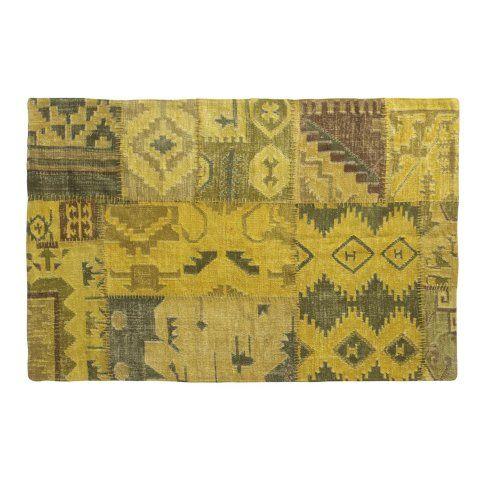 Teppich gelb, gelbtöne, used-look, gewebt jute wolle