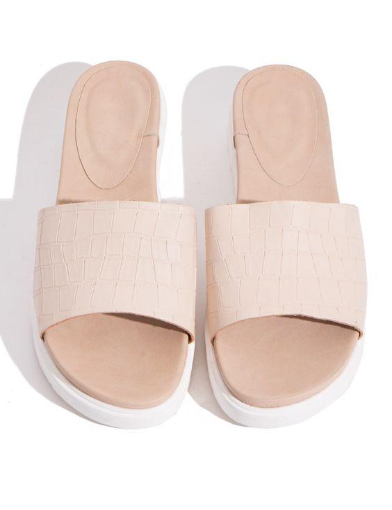 Nude Slide Sandals - Platform Slide Sandals -