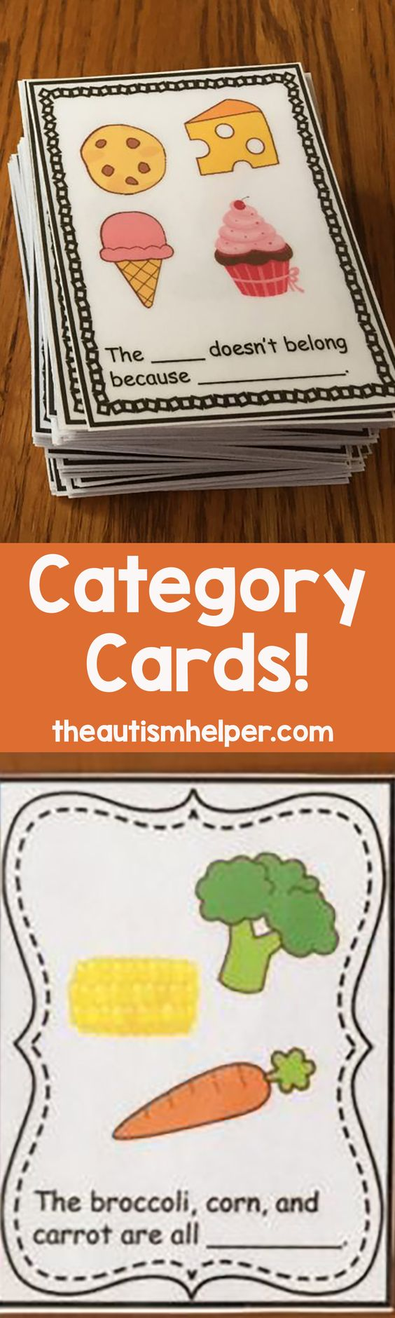 "Need to work on some categorization skills?  Check out these Category Cards! The set contains 72 ""Name that Category"" cards and 72 ""What Doesn't Belong"" cards. From theautismhelper.com"