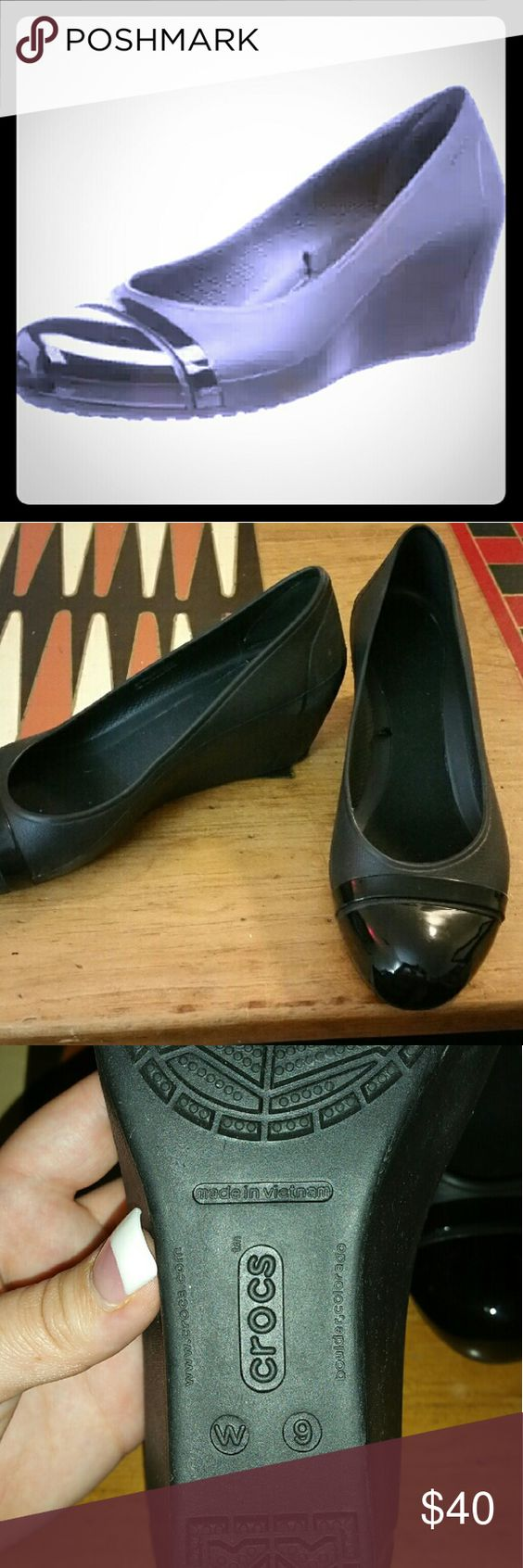 Woman's cap toe wedges Crocs. Black. Size 9 wide. Or 9.5. Never used. crocs Shoes Wedges
