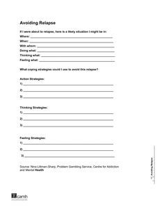 Printables Substance Abuse Relapse Prevention Plan Worksheet relapse prevention plan worksheet versaldobip substance abuse davezan